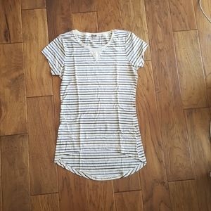 Poof! Blue Gray Striped High-Low T-Shirt